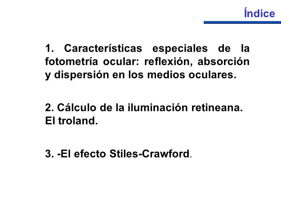 Índice 1. Características especiales de la fotometría ocular: reflexión, absorción y dispersión en los medios oculares.