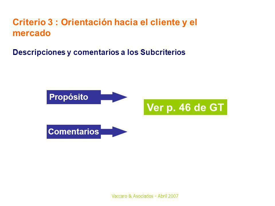Ver p. 46 de GT Criterio 3 : Orientación hacia el cliente y el mercado