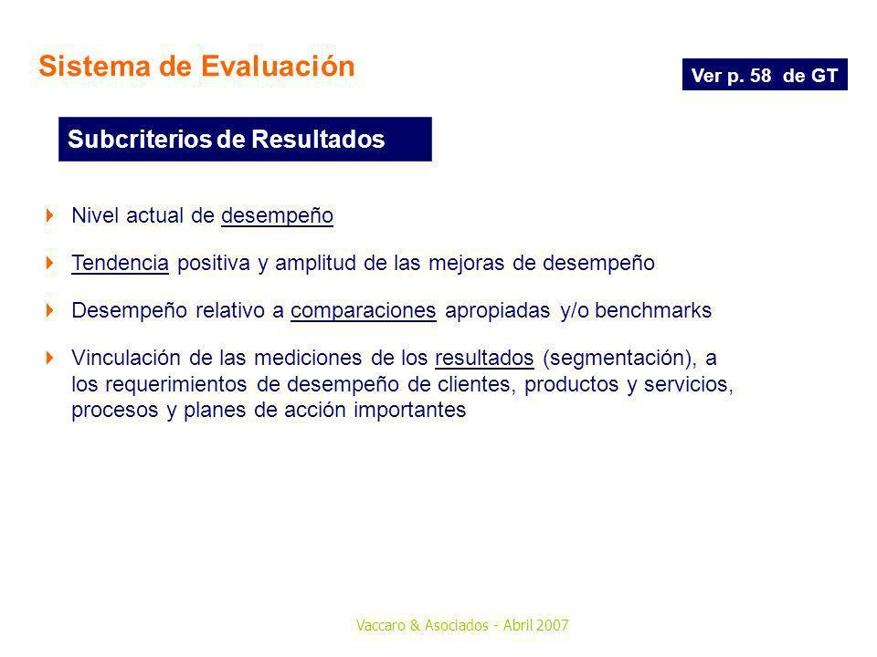 Sistema de Evaluación Subcriterios de Resultados