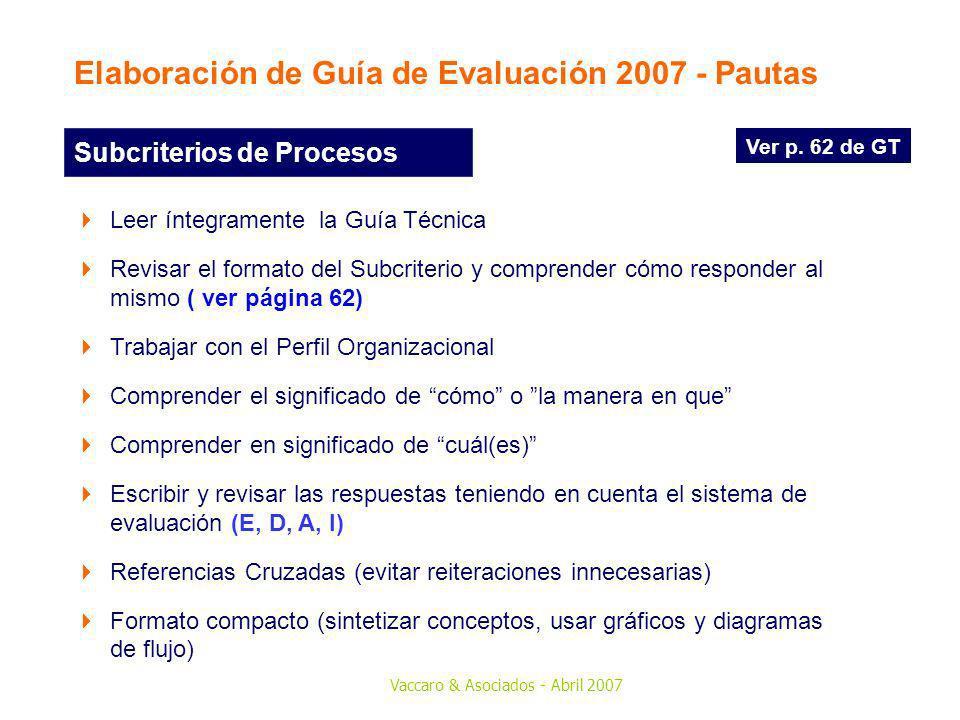 Elaboración de Guía de Evaluación 2007 - Pautas
