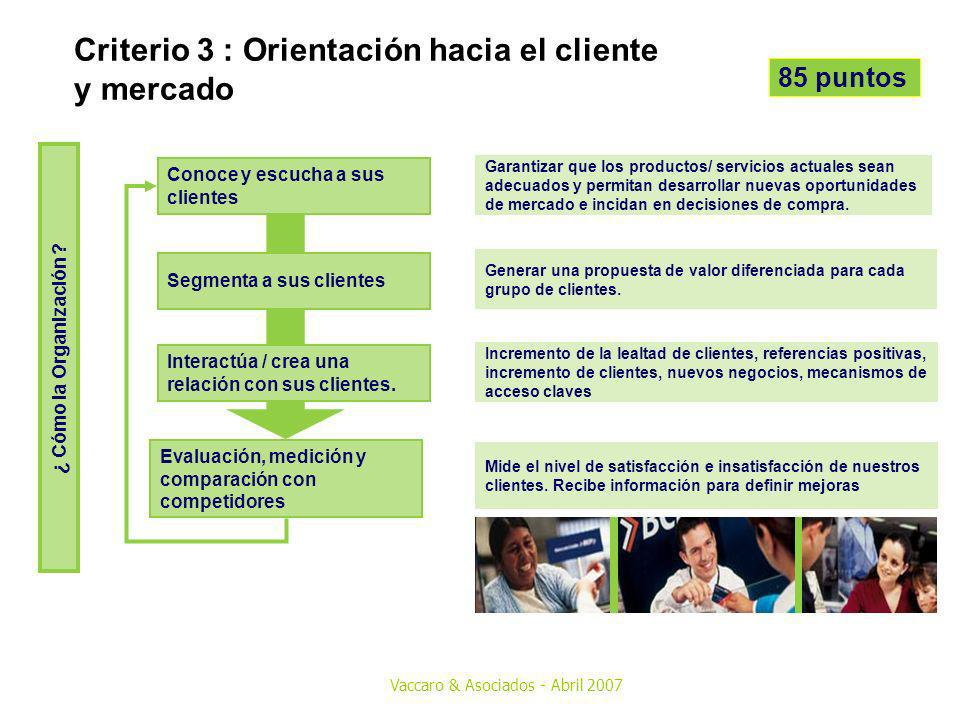 Criterio 3 : Orientación hacia el cliente y mercado