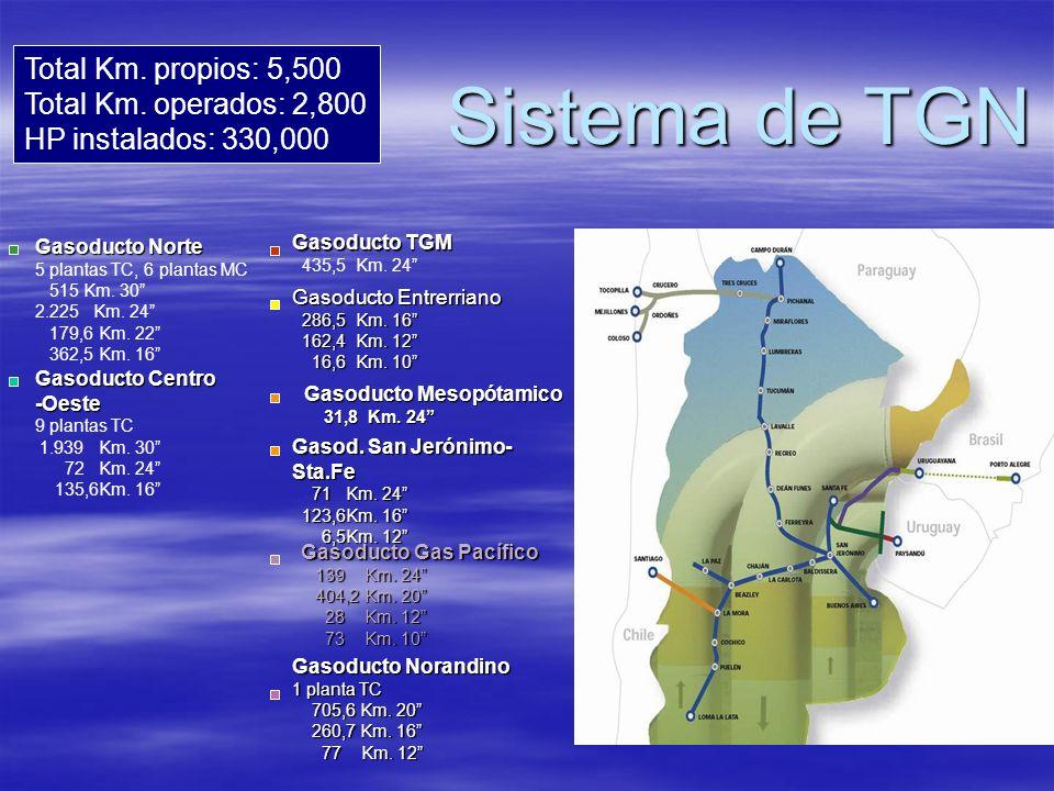 Sistema de TGN Total Km. propios: 5,500 Total Km. operados: 2,800