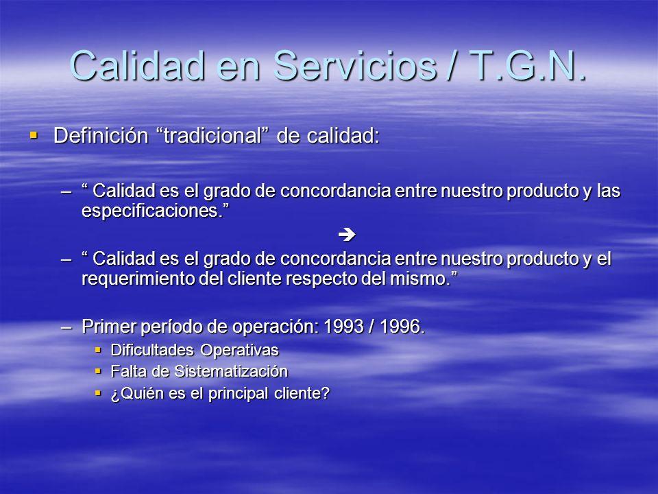 Calidad en Servicios / T.G.N.