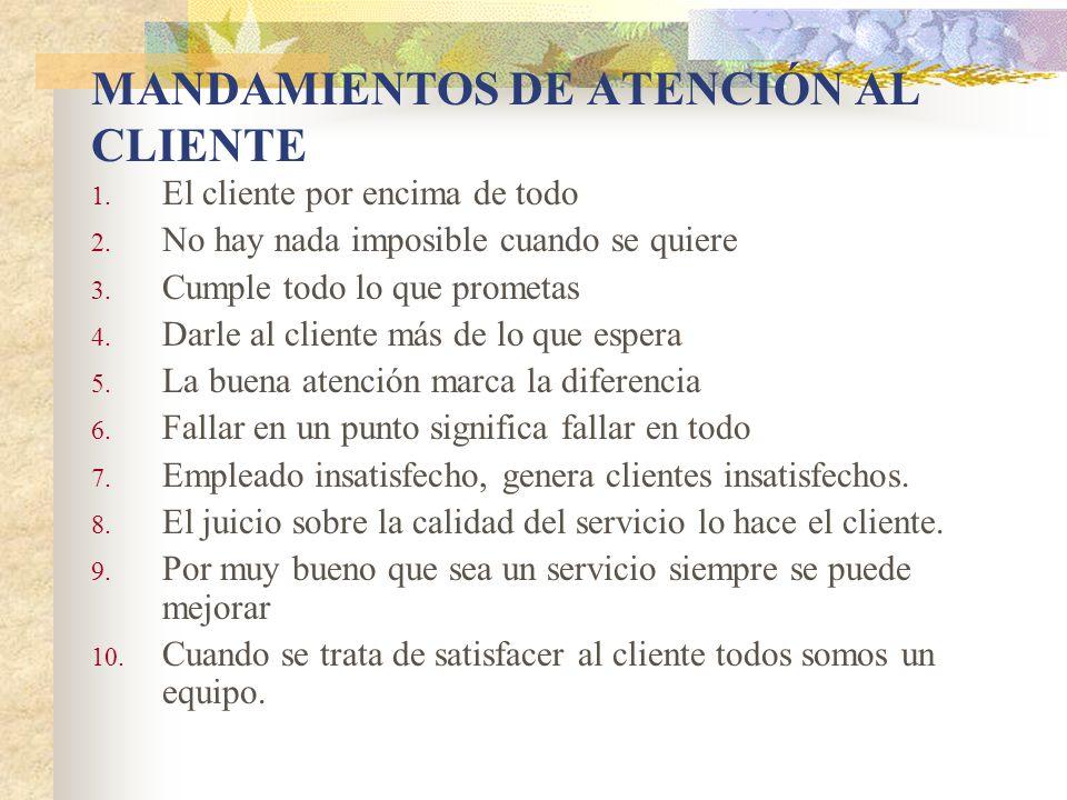 MANDAMIENTOS DE ATENCIÓN AL CLIENTE