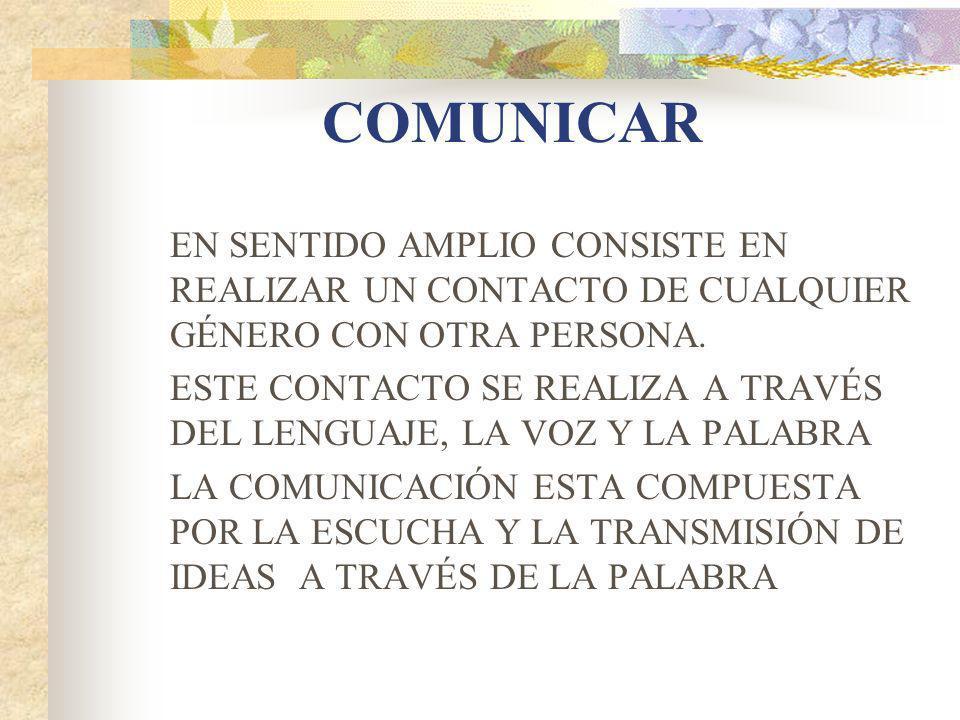 COMUNICAR EN SENTIDO AMPLIO CONSISTE EN REALIZAR UN CONTACTO DE CUALQUIER GÉNERO CON OTRA PERSONA.
