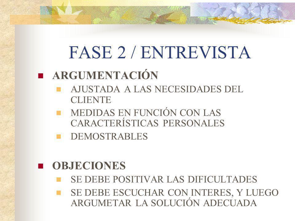 FASE 2 / ENTREVISTA ARGUMENTACIÓN OBJECIONES