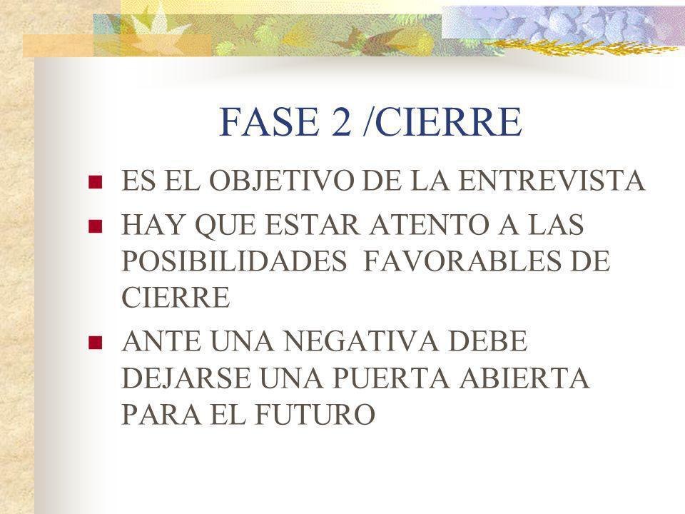 FASE 2 /CIERRE ES EL OBJETIVO DE LA ENTREVISTA