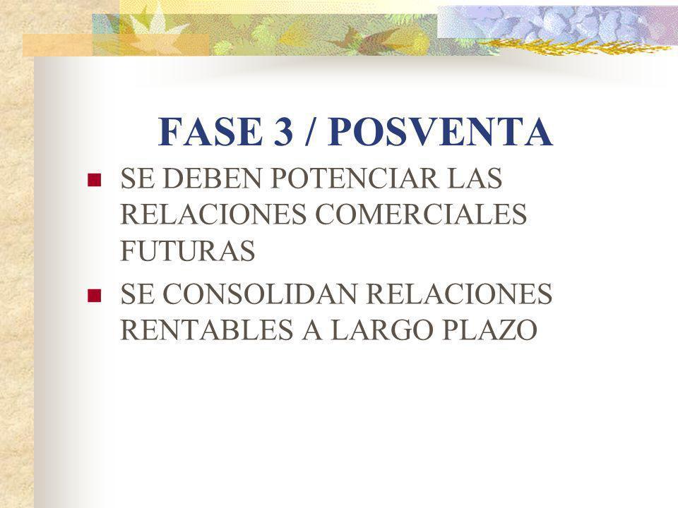 FASE 3 / POSVENTA SE DEBEN POTENCIAR LAS RELACIONES COMERCIALES FUTURAS.