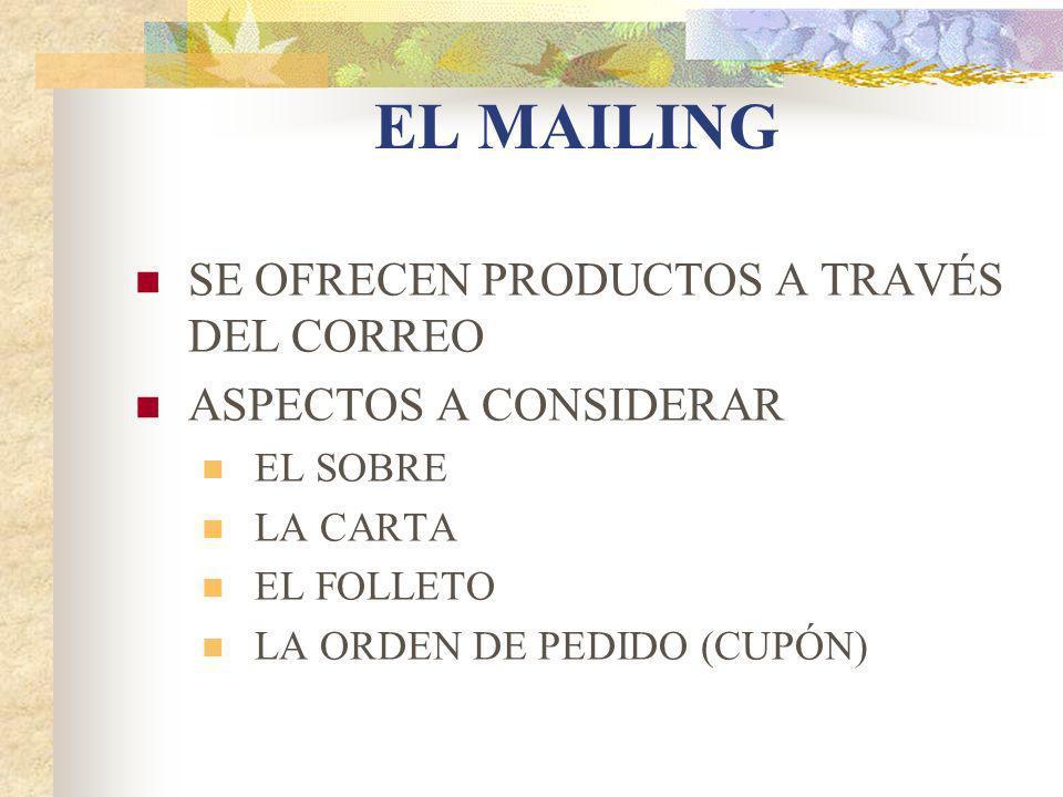 EL MAILING SE OFRECEN PRODUCTOS A TRAVÉS DEL CORREO