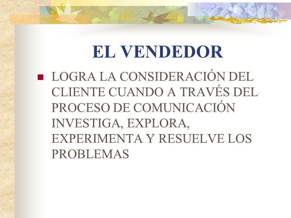 EL VENDEDOR LOGRA LA CONSIDERACIÓN DEL CLIENTE CUANDO A TRAVÉS DEL PROCESO DE COMUNICACIÓN INVESTIGA, EXPLORA, EXPERIMENTA Y RESUELVE LOS PROBLEMAS.