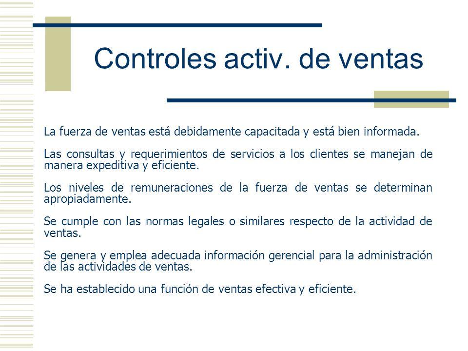 Controles activ. de ventas