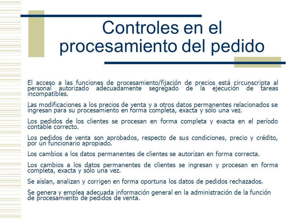 Controles en el procesamiento del pedido