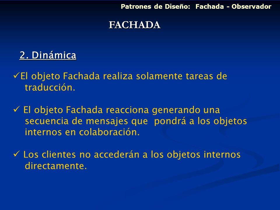 FACHADA 2. Dinámica El objeto Fachada realiza solamente tareas de