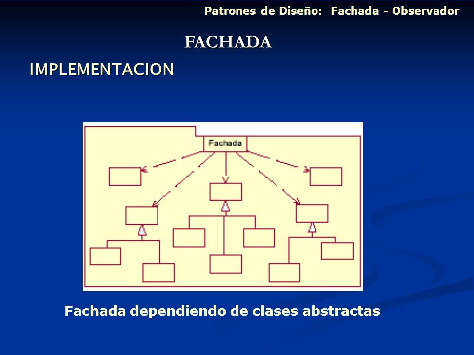 FACHADA IMPLEMENTACION Fachada dependiendo de clases abstractas