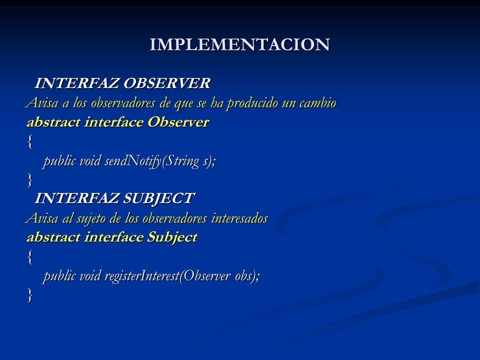 IMPLEMENTACION INTERFAZ OBSERVER