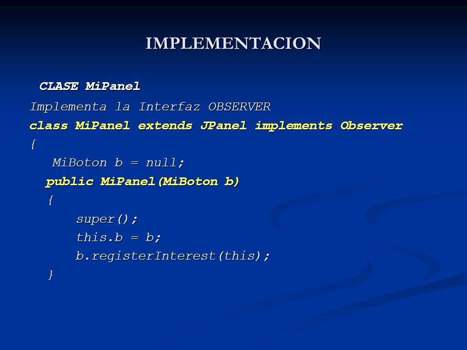 CLASE MiPanel IMPLEMENTACION Implementa la Interfaz OBSERVER