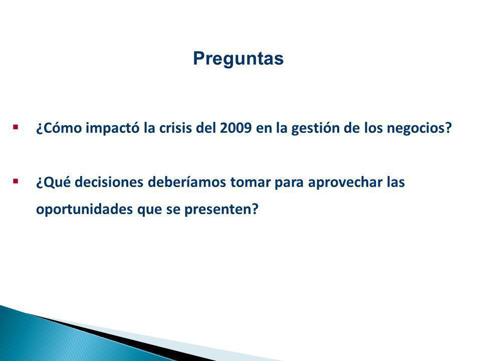 Preguntas ¿Cómo impactó la crisis del 2009 en la gestión de los negocios