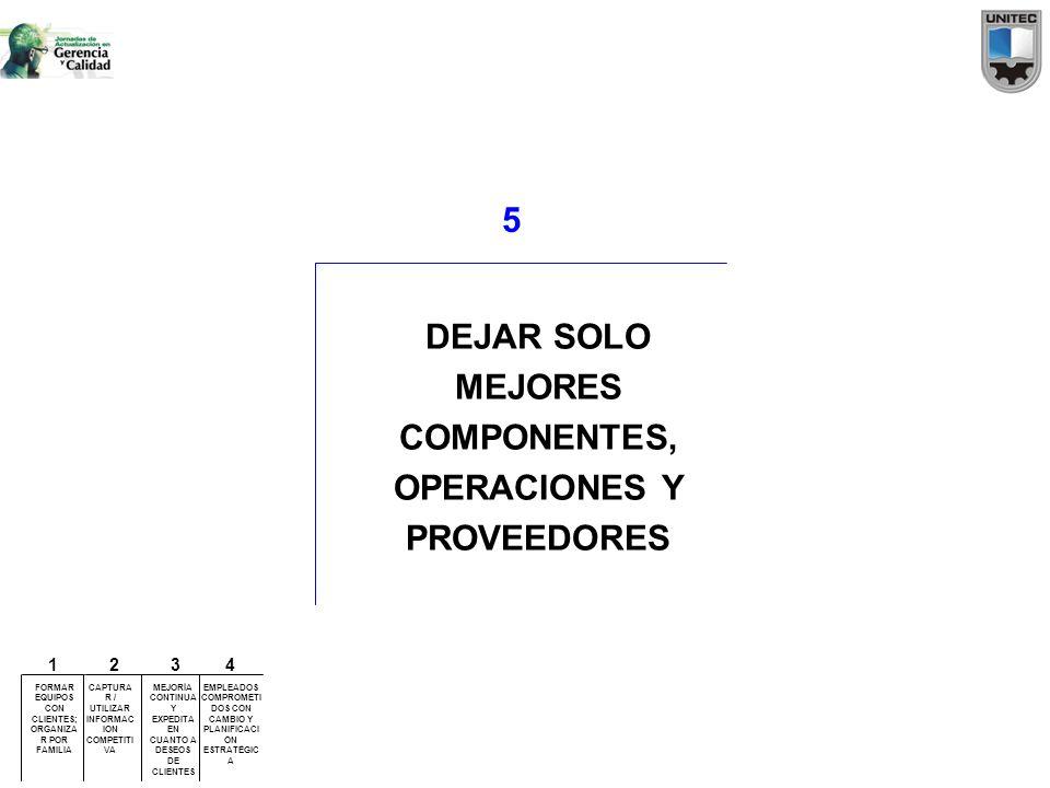 5 DEJAR SOLO MEJORES COMPONENTES, OPERACIONES Y PROVEEDORES