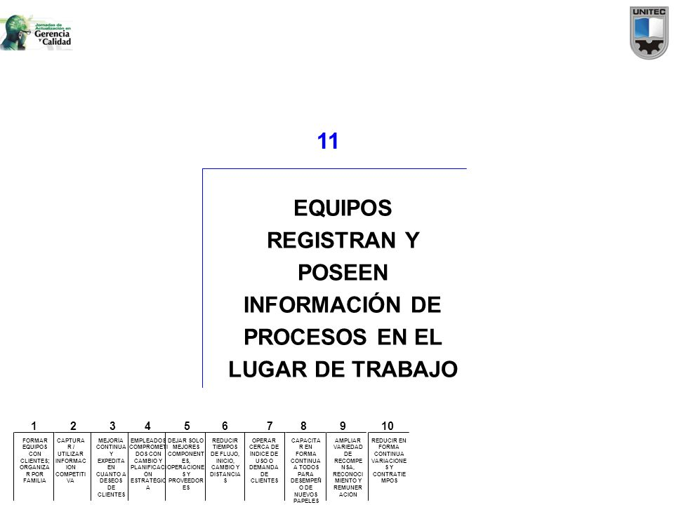 11 EQUIPOS REGISTRAN Y POSEEN INFORMACIÓN DE PROCESOS EN EL LUGAR DE TRABAJO. 1. 2. 3. 4. 5. 6.