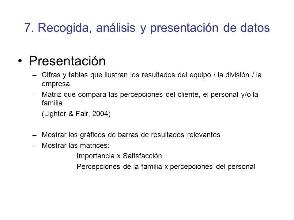 7. Recogida, análisis y presentación de datos