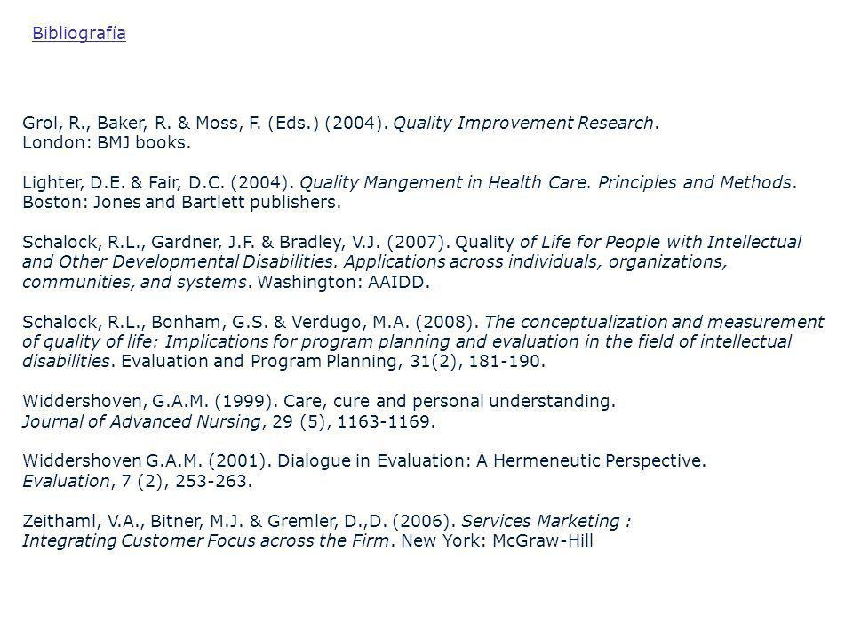 Bibliografía Grol, R., Baker, R. & Moss, F. (Eds.) (2004). Quality Improvement Research. London: BMJ books.