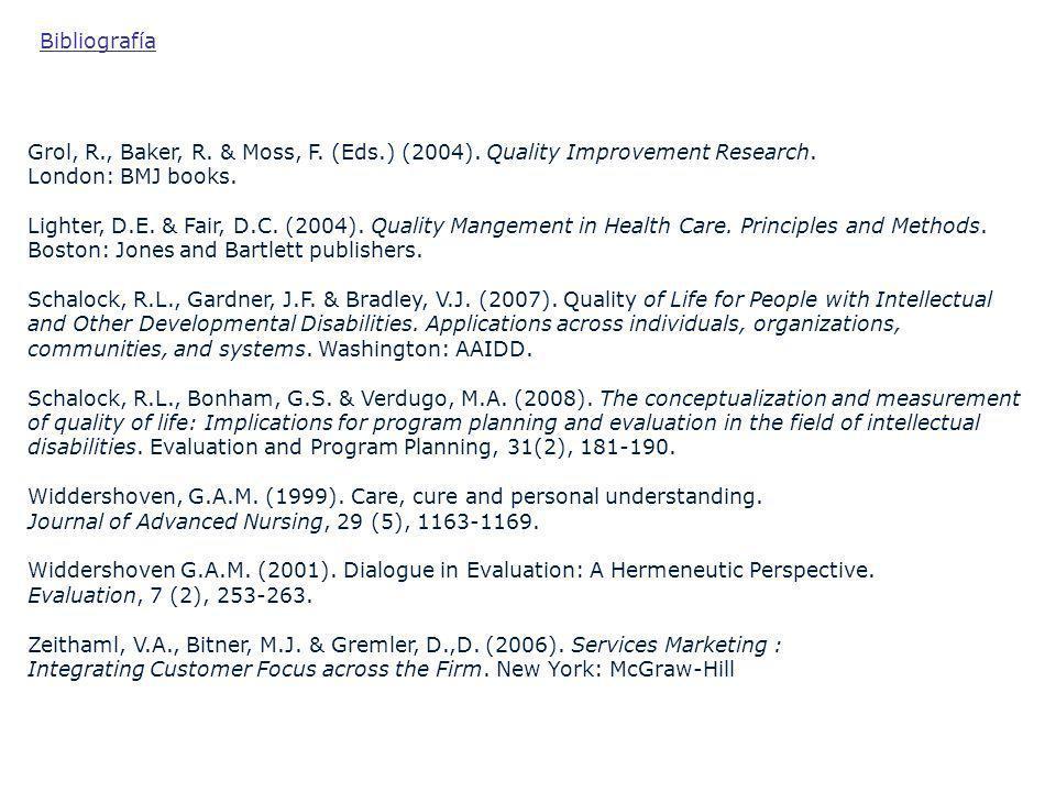 Bibliografía Grol, R., Baker, R. & Moss, F. (Eds.) (2004). Quality Improvement Research. London: BMJ books.