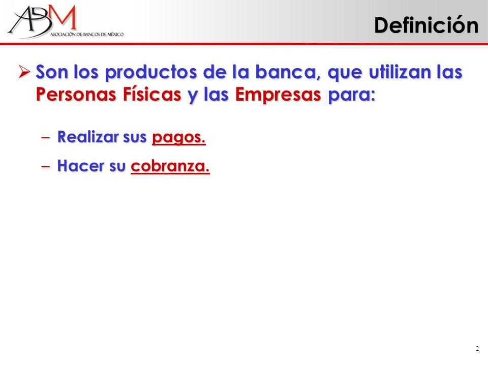Definición Son los productos de la banca, que utilizan las Personas Físicas y las Empresas para: Realizar sus pagos.