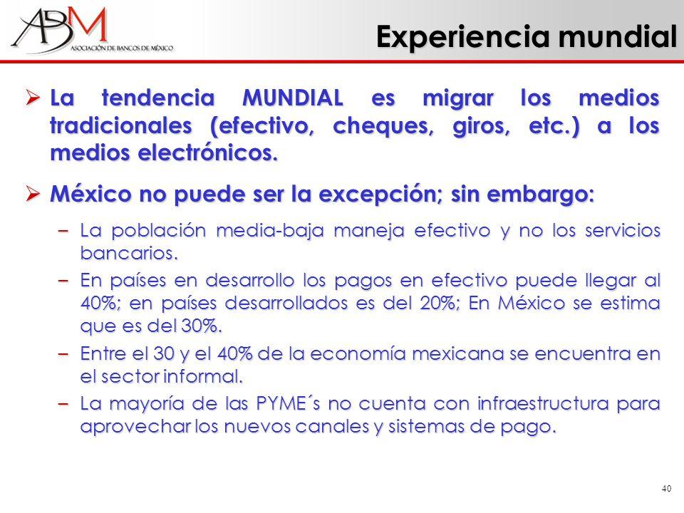 Experiencia mundial La tendencia MUNDIAL es migrar los medios tradicionales (efectivo, cheques, giros, etc.) a los medios electrónicos.