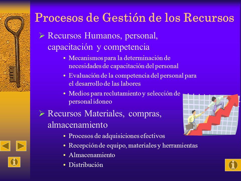 Procesos de Gestión de los Recursos