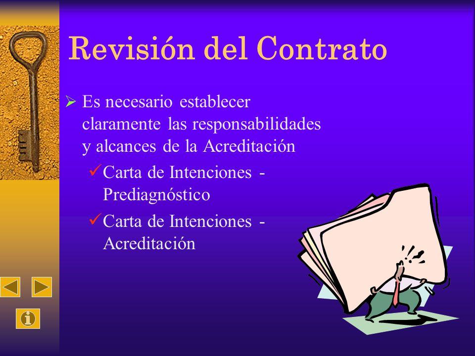 Revisión del Contrato Es necesario establecer claramente las responsabilidades y alcances de la Acreditación.