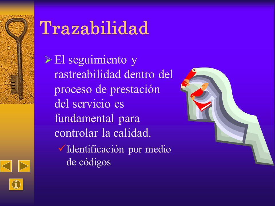 TrazabilidadEl seguimiento y rastreabilidad dentro del proceso de prestación del servicio es fundamental para controlar la calidad.