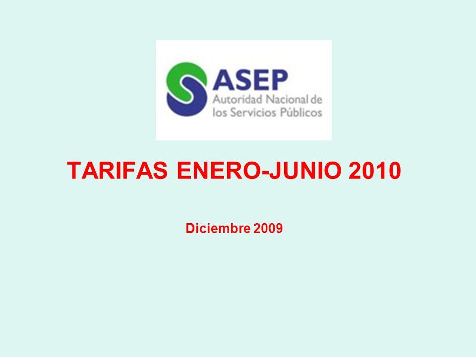 TARIFAS ENERO-JUNIO 2010 Diciembre 2009