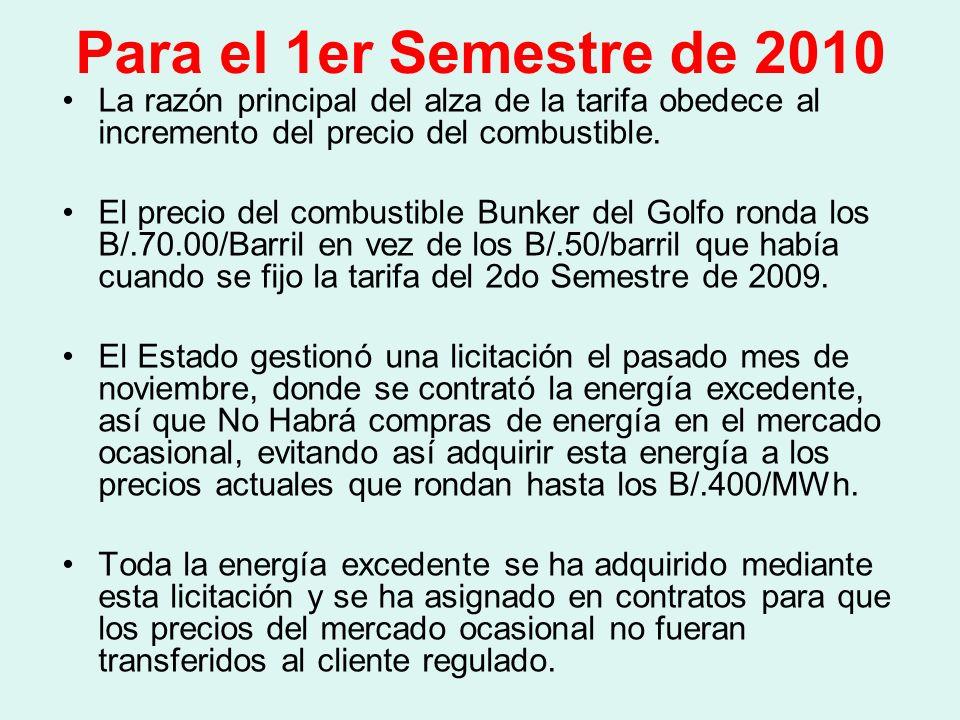 Para el 1er Semestre de 2010 La razón principal del alza de la tarifa obedece al incremento del precio del combustible.