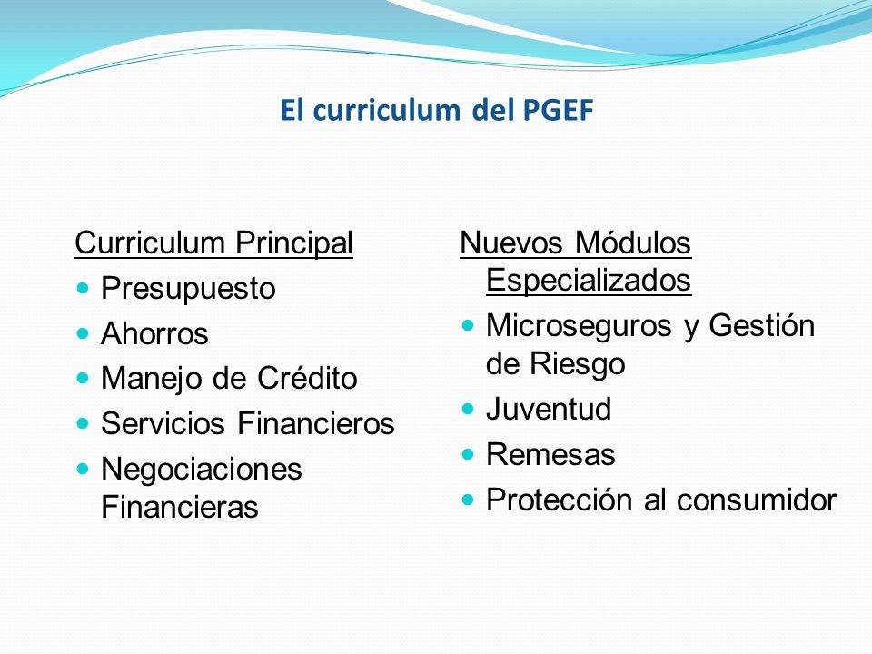 El curriculum del PGEF Curriculum Principal Presupuesto Ahorros