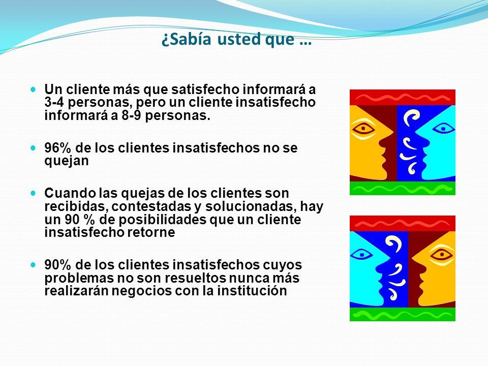 ¿Sabía usted que … Un cliente más que satisfecho informará a 3-4 personas, pero un cliente insatisfecho informará a 8-9 personas.