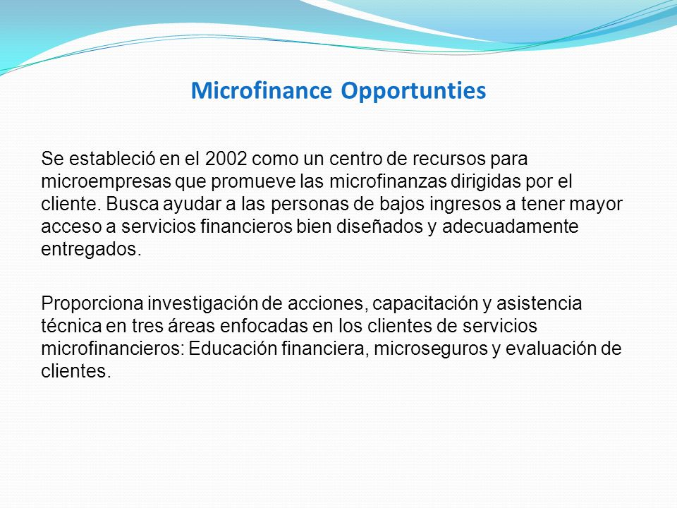 Microfinance Opportunties