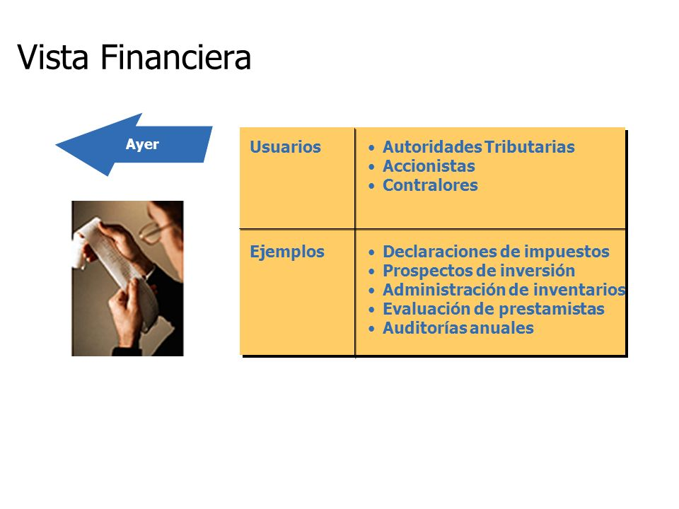 Vista Financiera Usuarios Autoridades Tributarias Accionistas