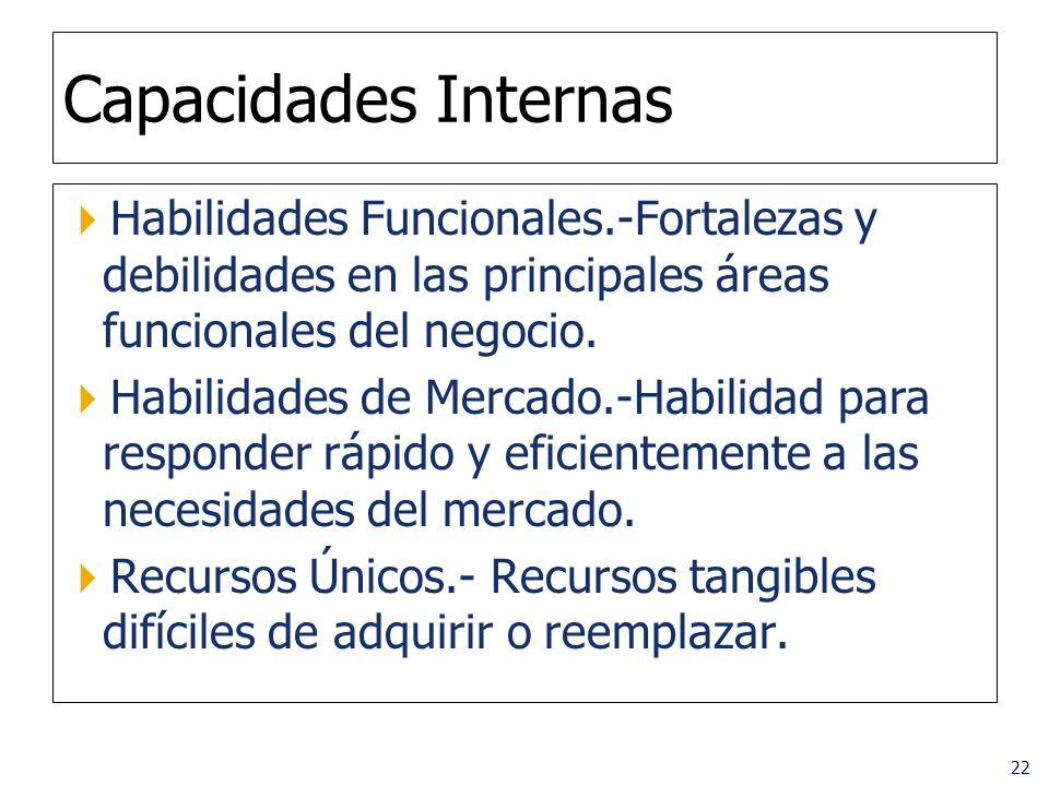 Capacidades Internas Habilidades Funcionales.-Fortalezas y debilidades en las principales áreas funcionales del negocio.