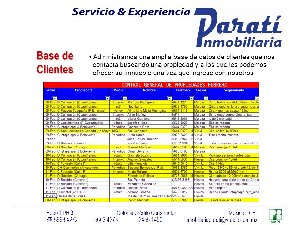 Base de Clientes. Administramos una amplia base de datos de clientes que nos. contacta buscando una propiedad y a los que les podemos.