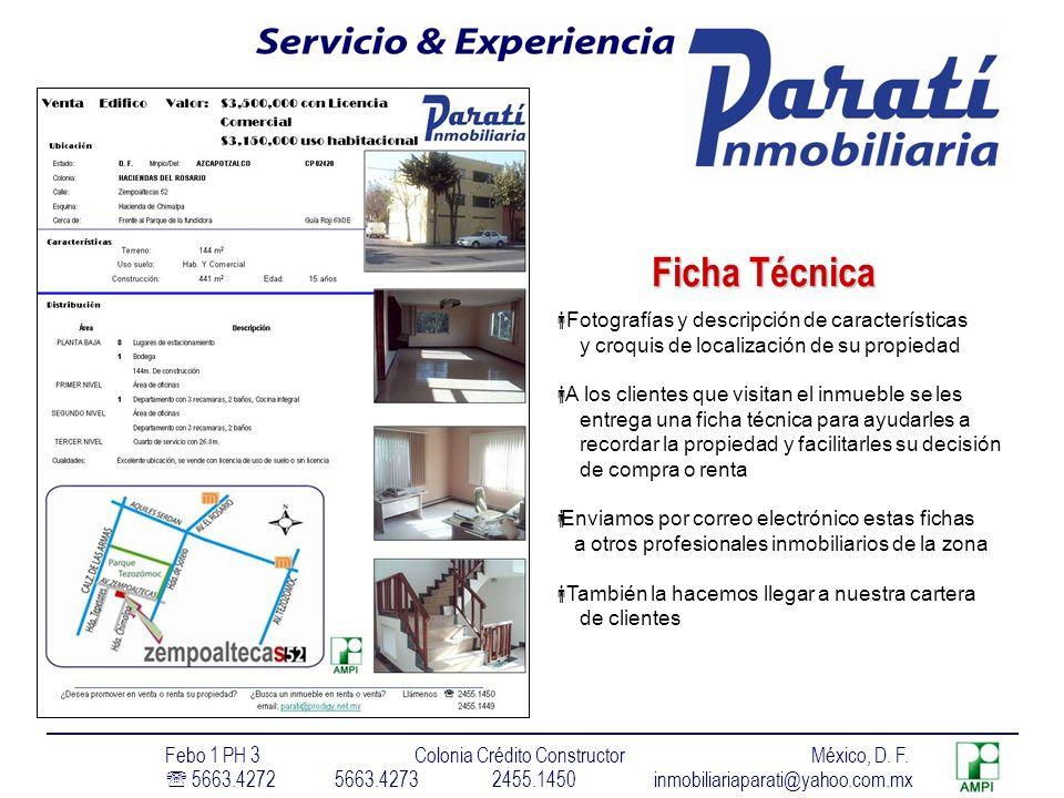 Ficha Técnica Fotografías y descripción de características
