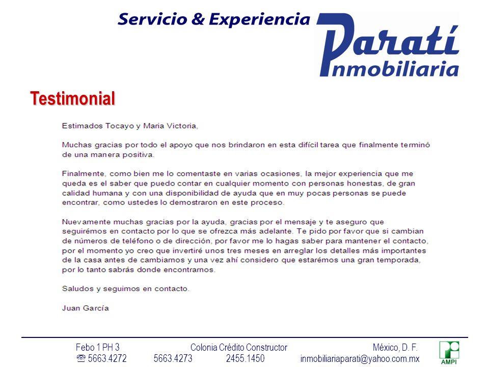 Testimonial Febo 1 PH 3 Colonia Crédito Constructor México, D. F.