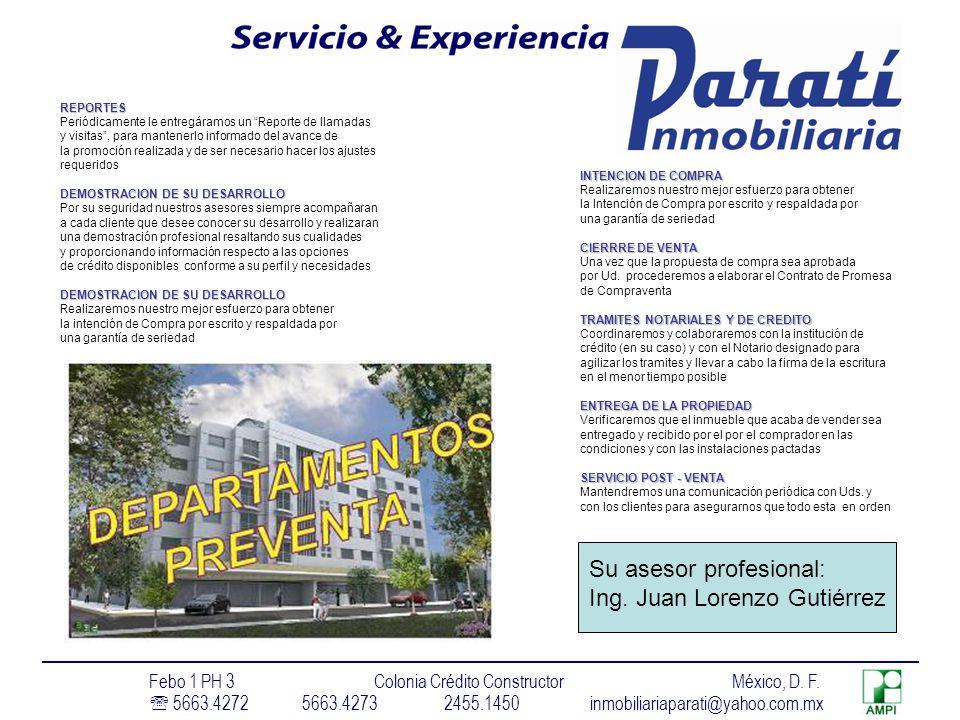 Su asesor profesional: Ing. Juan Lorenzo Gutiérrez
