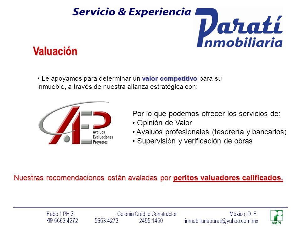 Valuación Por lo que podemos ofrecer los servicios de: