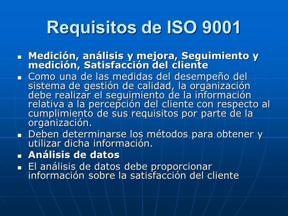 Requisitos de ISO 9001 Medición, análisis y mejora, Seguimiento y medición, Satisfacción del cliente.