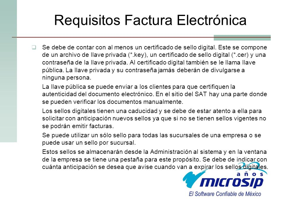 Requisitos Factura Electrónica