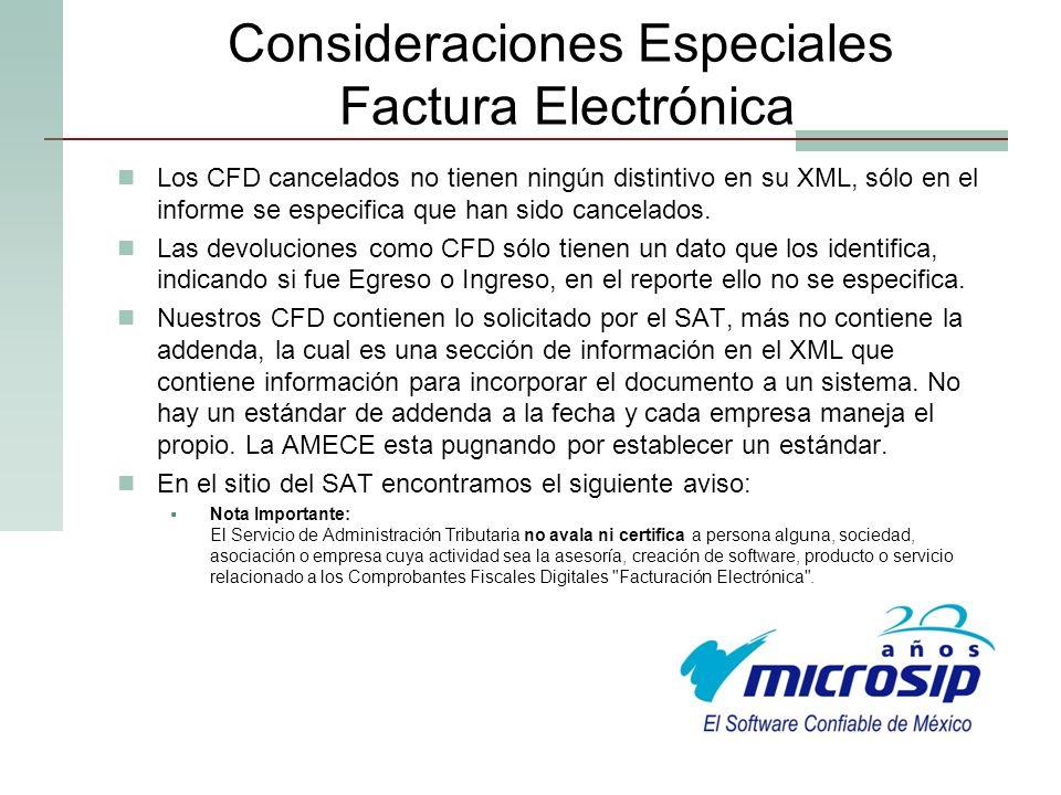 Consideraciones Especiales Factura Electrónica