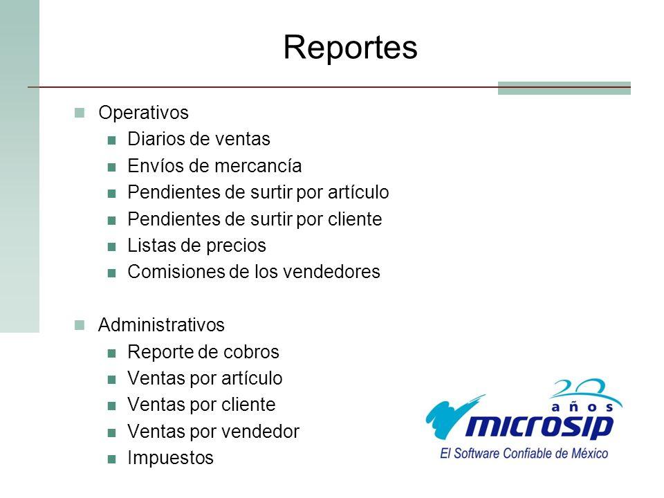 Reportes Operativos Diarios de ventas Envíos de mercancía