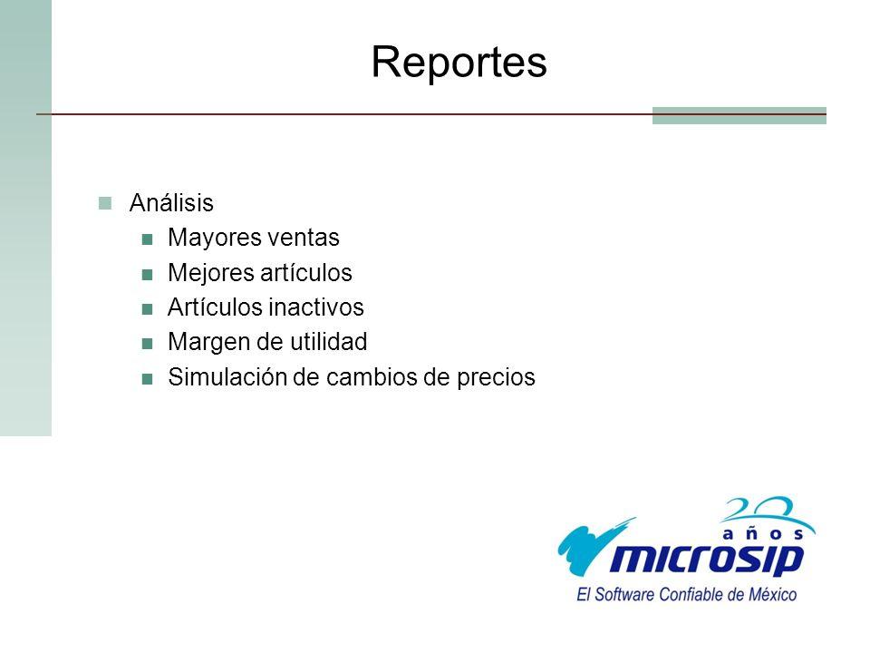 Reportes Análisis Mayores ventas Mejores artículos Artículos inactivos
