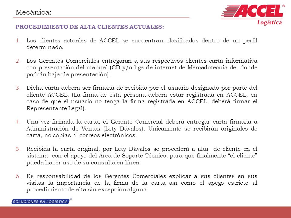 Mecánica: PROCEDIMIENTO DE ALTA CLIENTES ACTUALES: