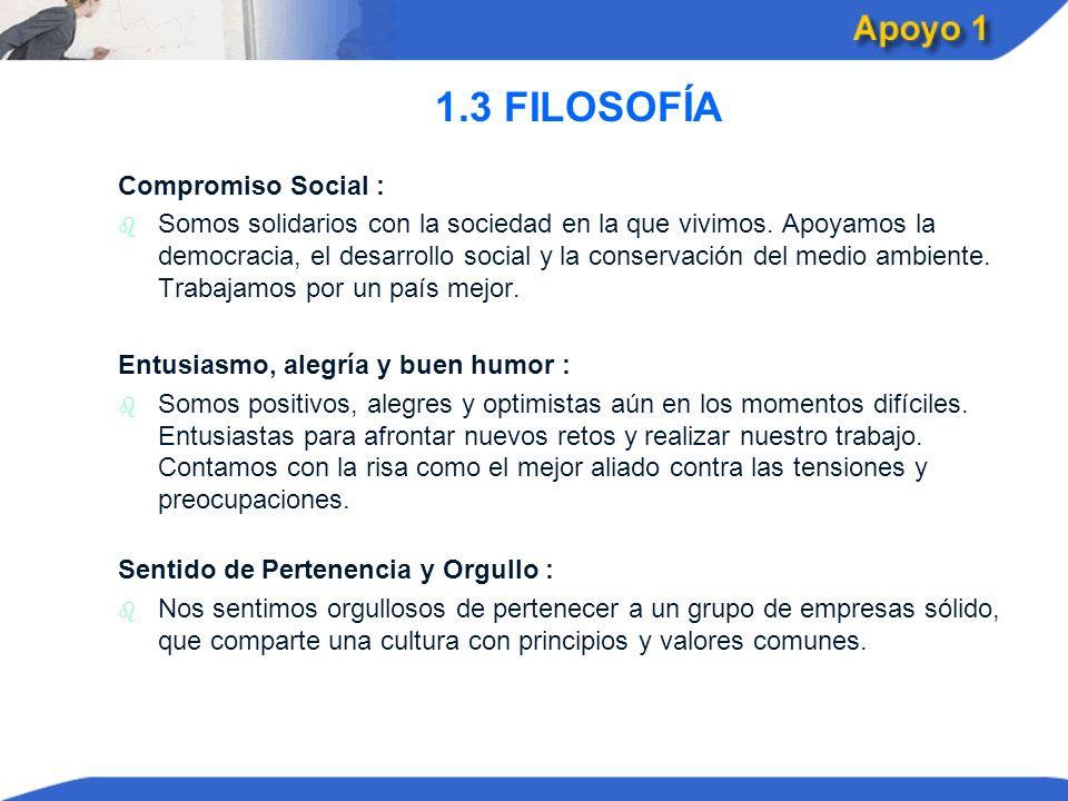 1.3 FILOSOFÍA Compromiso Social :